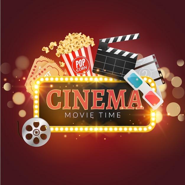 Tło filmu kinowego. popcorn, taśma filmowa, clapboard, bilety. tło czasu filmu