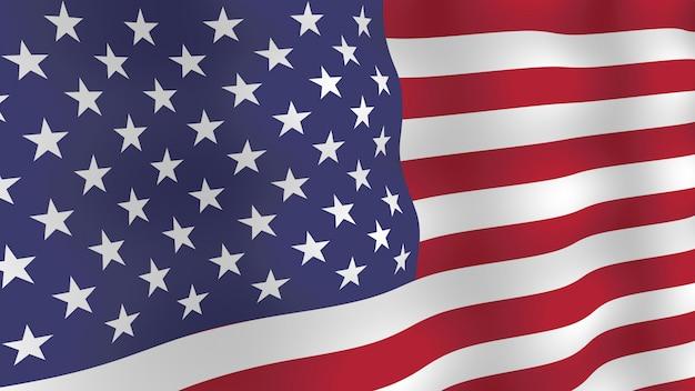 Tło flaga usa. realistyczna trzepotliwa flaga z cieniami.