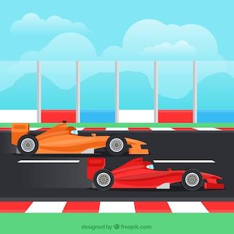 Tło formuły 1 z dwoma samochodami