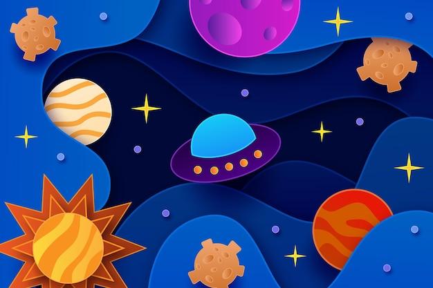 Tło galaktyki w stylu papieru