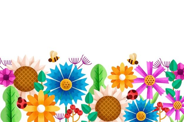 Tło geometryczne kwiaty z pszczołami