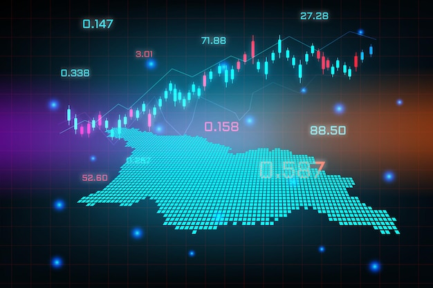 Tło giełdy lub wykres wykres biznesu forex dla koncepcji inwestycji finansowych na mapie gruzji osetii południowej.