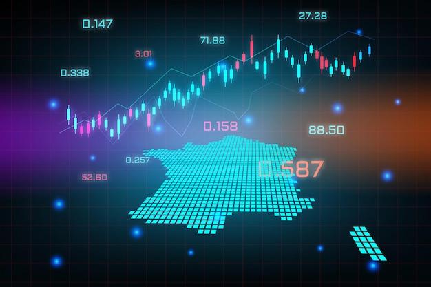 Tło giełdy lub wykres wykresu biznesowego handlu forex dla koncepcji inwestycji finansowych na mapie francji.