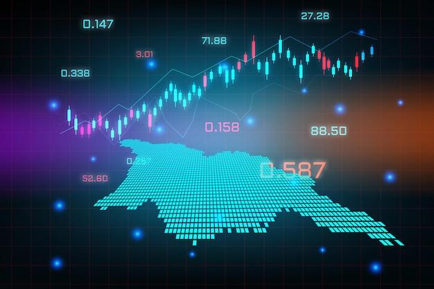 Tło giełdy lub wykres wykresu biznesowego handlu forex dla koncepcji inwestycji finansowych na mapie gruzji.
