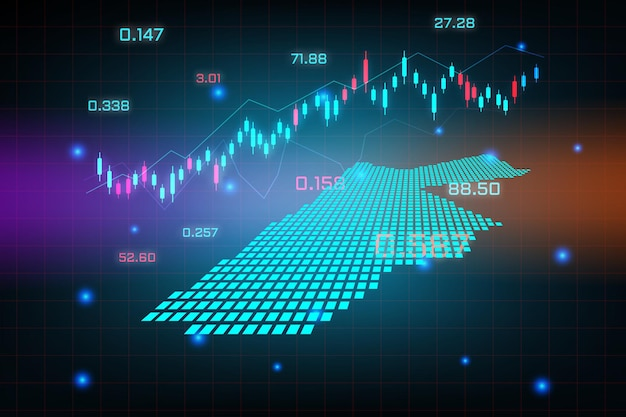 Tło giełdy lub wykres wykresu biznesowego handlu forex dla koncepcji inwestycji finansowych na mapie jordanii. pomysł na biznes i projektowanie innowacji technologicznych.