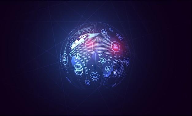 Tło globalnej sieci połączeń. kompozycja punktu i linii na mapie świata