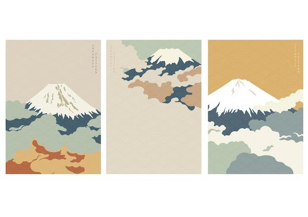 Tło góry fuji z japońskim wzorem fal. szablon chmury.