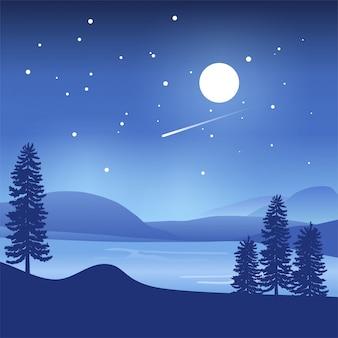 Tło góry i jezioro przy nocą