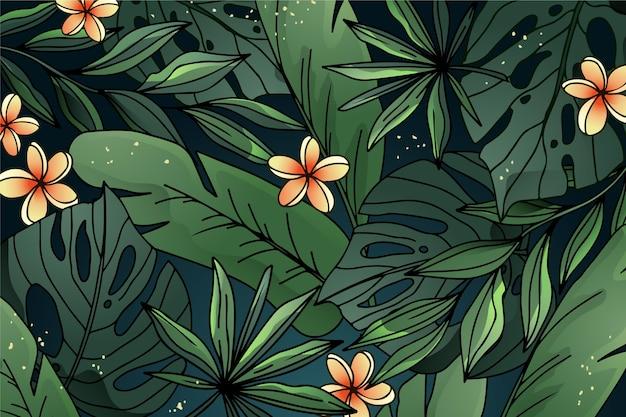 Tło gradientowe liści tropikalnych