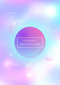 Tło gradientowe memphis z płynnymi kształtami. dynamiczny płyn holograficzny z elementami bauhaus. szablon graficzny do książki, rocznego, mobilnego interfejsu, aplikacji internetowej. plastikowy gradient memphis.