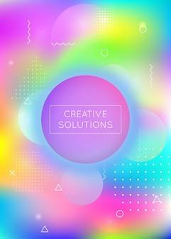 Tło gradientowe memphis z płynnymi kształtami. dynamiczny płyn holograficzny z elementami bauhaus. szablon graficzny na afisz, prezentację, baner, broszurę. futurystyczny gradient memphis.