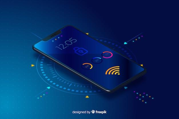 Tło gradientowe technologii izometryczny mobilnych