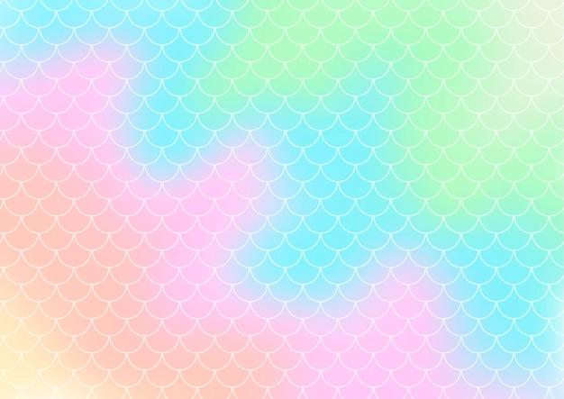 Tło gradientowe w stylu hologramu z wzorem łusek syrenki