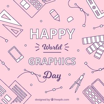 Tło grafiki świata dzień z narzędzi pracy