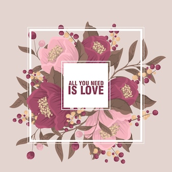 Tło granicy kwiatowy - granica różowy kwiat