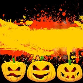 Tło grunge halloween z upiornym jack o lanterns