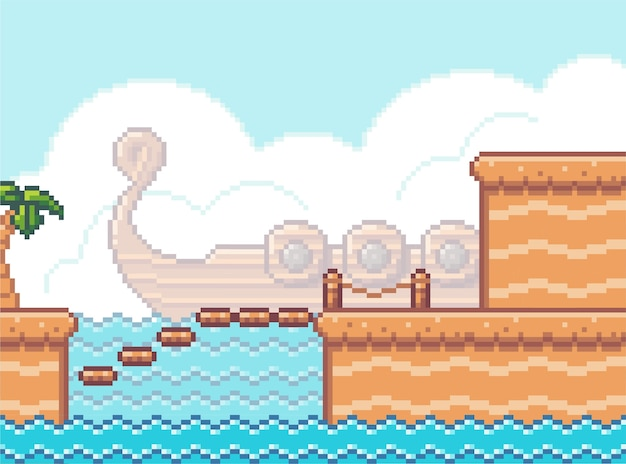 Tło gry pikseli z mostem i morzem. scena gry z drewnianymi platformami z wybrzeża