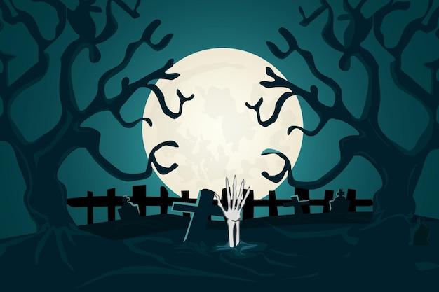 Tło halloween po martwym cmentarzu