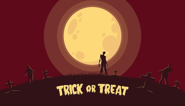 Tło halloween z zombie na cmentarzu