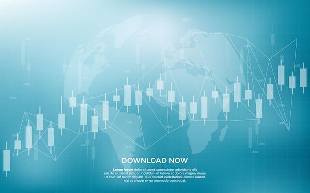 Tło handlowe z prostymi przezroczystymi białymi ilustracjami na wykresie słupkowym.