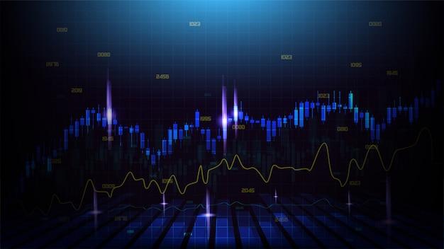 Tło handlowe z przezroczystymi niebieskimi ilustracjami na wykresie świecznika i czerwonymi zakrzywionymi ilustracjami na ciemnym tle.
