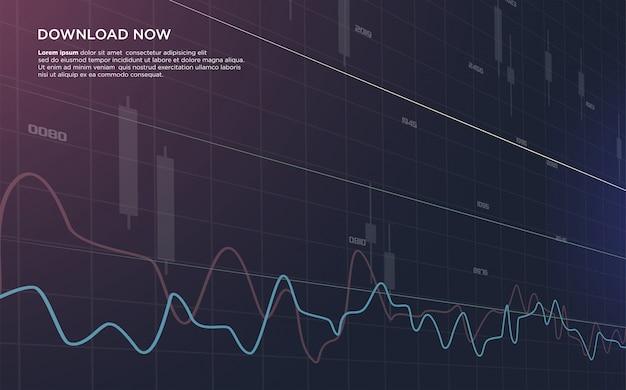 Tło handlu giełdowego z ilustracją zakrzywionego wykresu słupkowego