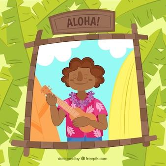 Tło hawajski człowiek gra w ukulele