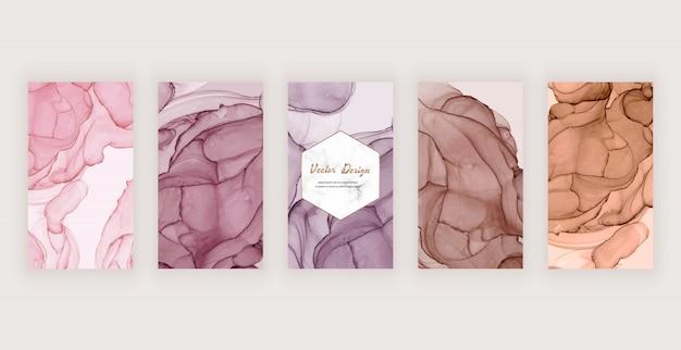 Tło historii instagram z różową, brązową i nagą abstrakcyjną teksturą atramentu i marmurową ramką