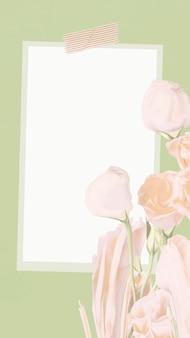 Tło historii na instagramie, wektor notatki papieru z abstrakcyjnym kwiatem