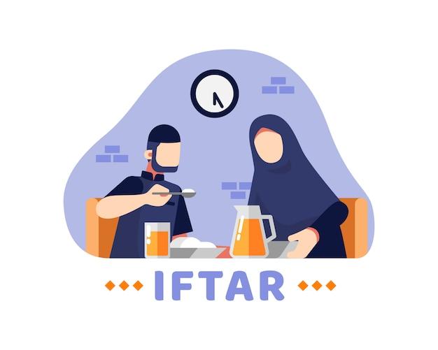 Tło iftar z muzułmańską parą jedzą razem w jadalni