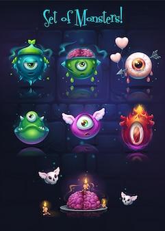 Tło ilustracja zestaw potworów