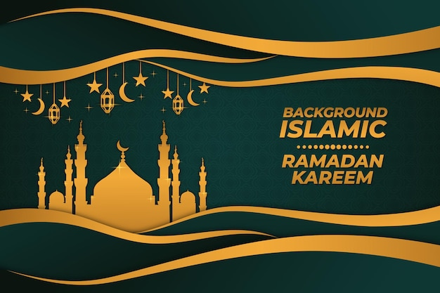 Tło islamski ramadan kareem złoty zielony gradient
