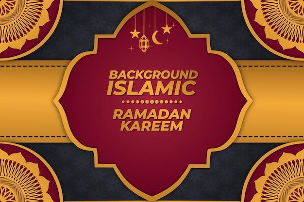 Tło islamski ramadan line kareem ornament złoty czerwony gradient