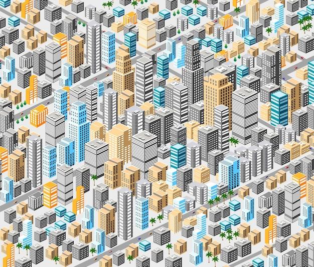 Tło izometrycznego miasta z setkami różnych domów, biur, drapaczy chmur, supermarketów i ulic z ruchem.