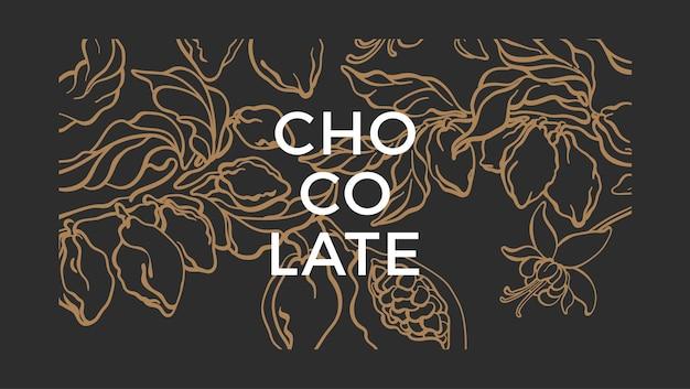 Tło kakaowe naturalna czekolada roślina botaniczna liść owoców tropikalnych