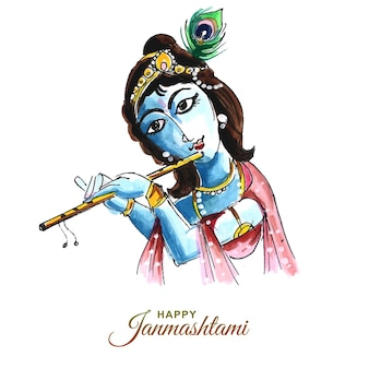 Tło karty festiwalu shree krishna janmashtami