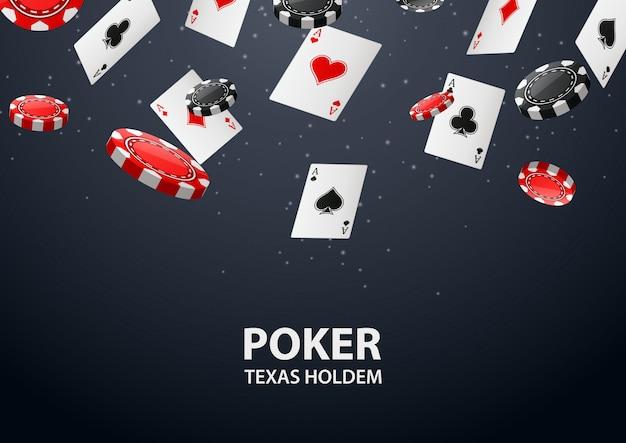Tło kasyna z kart pokera i żetonów.