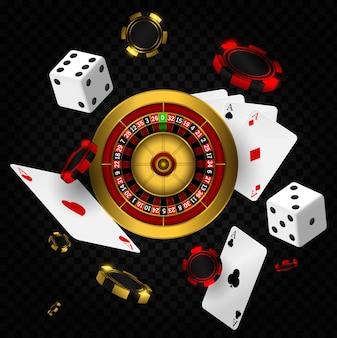 Tło kasyna z ruletką, żetony, karty i kości. casino vegas ulotka projektu koła fortuny ruletki. kasyno pokerowe