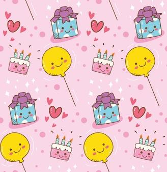 Tło kawaii urodziny