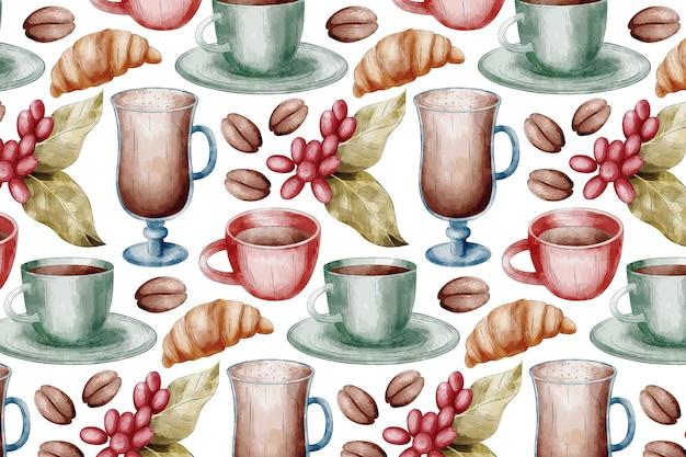 Tło kawy z filiżankami i szklankami