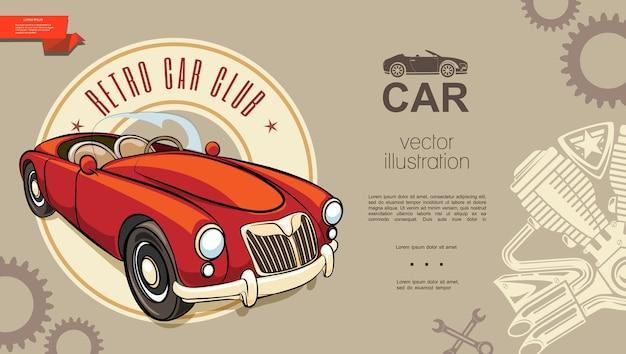 Tło klubu retro samochodów