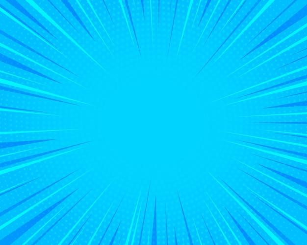 Tło komiksów pop-art w stylu retro jasne niebieskie promienie w tle
