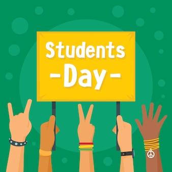 Tło koncepcja dzień studentów, płaski