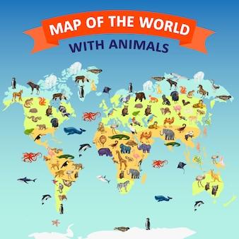 Tło koncepcja mapa świata zwierząt. kreskówki ilustracja światowej mapy pojęcia zwierzęcy wektorowy tło
