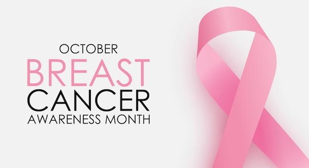 Tło koncepcja miesiąc świadomości raka piersi miesiąc. różowa wstążka znak