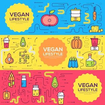 Tło koncepcja wegetariańskie zaproszenie. układ ilustracje zdrowej diety nowoczesne