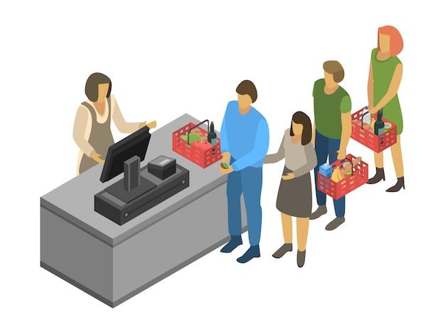 Tło koncepcji kasjera. izometryczne ilustracja kasjer koncepcja tło wektor do projektowania stron internetowych