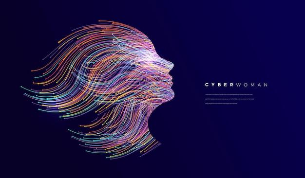 Tło koncepcji twarzy sztucznej inteligencji