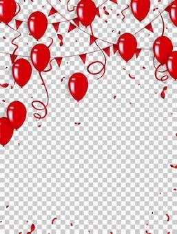 Tło konfetti i czerwone balony ilustracje wektorowe