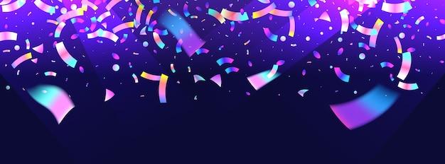Tło konfetti z kolorowy wybuch. holograficzny z lekkim efektem usterki. streszczenie banner